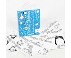 """Biglietti natalizi, con scritta """"Thank You Cards"""", motivo: Colour-in, cartoline di Natale (OD02)"""