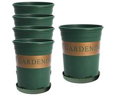 TSLBW 5 PezziVasi di Plastica per Piante,con Piattino Piccoli Vasetti,Vasi in Plastica per Piante,Fiori e per la Semina,di 16cm di Diametro,Perfetti per Il Giardinaggio