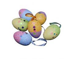 AchidistviQ 6pcs/Set Lovely Foam Uova di Pasqua Decorazione da Appendere casa Negozio Festa Ornamento Uova di Pasqua Uova di Pasqua in Spugna Finestra Decorazioni Ornamenti Multi