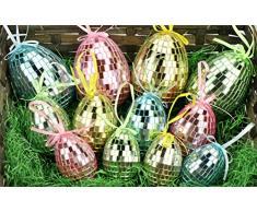 COM-FOUR® 8 Uova di Pasqua con Gancio in Diverse Misure, Colorate Decorazioni pasquali con Effetto Mosaico (08 Pezzi - mescolare Giallo + Rosa)