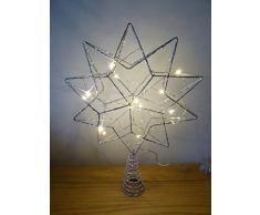 Decorazioni natalizie, stella di Natale larga 35 cm con luci LED alimentata a batterie, per interni, puntale per albero di Natale, colore argento
