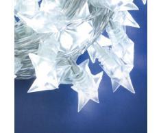XMASKING Collana 7,5 m, 60 Ministelle, LED Bianco Freddo, con Giochi di Luce, Decorazioni Natalizie, luci per LAlbero di Natale, luci di Natale