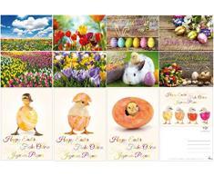 Edition Colibri© - Set di cartoline a tema Primavera e Pasqua (12 pezzi) - un mix colorato di divertenti cartoline pasquali, floreali e biglietti di auguri nostalgici per la Pasqua