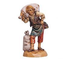 Statuine Presepe: Pastore con sacchi 6,5 cm Fontanini