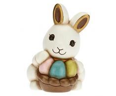 THUN - Coniglio Joy con inseparabili uova colorate - Soprammobili - Idea Regalo - Linea Color Your Easter - Ceramica - 8,8x9,4x13 h cm