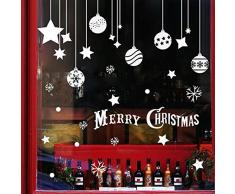 Extsud Natale Vetrofanie, 2 Set Adesivi Murali Stelle Nevi Puntini Merry Christmas, DIY Stickers da Vetro Finestra Vetrina Decorazione Natalizia Casa Fai da Te (Palle Stelle)