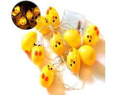 Funpa String Light, 10 Lampadine Fairy Light Chick Luce A Forma di LED Home String Light per La Decorazione di Pasqua