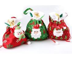 Fablcrew sacchetti di caramelle di Natale Babbo Natale con coulisse sacchetto regalo Treat bag calza borsetta, Tessuto, Red Snowman, M