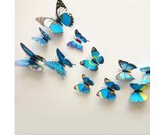 ZooYoo - Adesivi da parete in 3D a forma di farfalle, dal design elegante, per decorazioni fai da te per la casa e la cameretta dei bambini, 12 pezzi, colore: azzurro