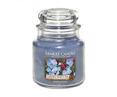 Yankee candle 1152870E Garden Sweet Pea Candele in giara media, Vetro, Blu, 10.6x9.8x13.2 cm