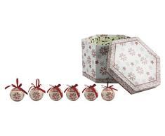 Galileo Casa Noel Set 14 Palle Decorazioni di Natale, Bianco/Rosso, 7x7x7 cm