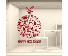 NT0355 Adesivi Murali - Pallina Happy Holidays - Vetrofanie natalizie - Misure 82x120 cm - rosso - Vetrine negozi per Natale, stickers, adesivi