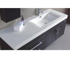 Mobile Arredo Bagno da 130 cm sospeso con lavabo decentrato a sinistra e specchio Mobili