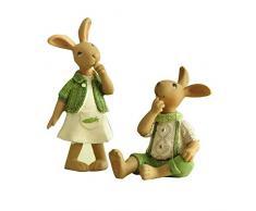 Ganmaov Coniglietto Pasquale Set di 2 Coniglietti Pasquali d'Epoca Antichi Coniglietti di Campagna Decorazione di Coniglio in Resina