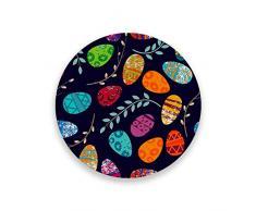 CHEHONG Sottobicchieri per Pasqua a righe colorate con uova, assorbenti, in ceramica, rotondo, per casa, cucina, ufficio, dimensioni 3,9 cm, adatto a tutte le tazze, ceramica+sughero, 2, 2 pezzi