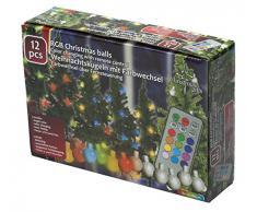 Set di 12 palle per albero di Natale con LED RGB, Telecomando incluso per cambio colori