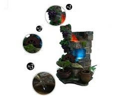 X&L Resina artigianato acqua roccioso fontana Lucky Feng Shui rotondo creativo home hotel ristorante decorazione doni artigianato (24.8 * 23.3 * 37,8 centimetri) , 24.8*23.3*37.8cm