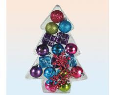 Idea Natale: Set 12 palle palline natalizie + 5 confezioni regalo multicolore per addobbi albero di Natale