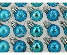 Christmas Concepts® Confezione da 25-25mm Mini Baubles per albero di Natale - Shiny, Matte e Glitter Baubles decorati (Turchese)