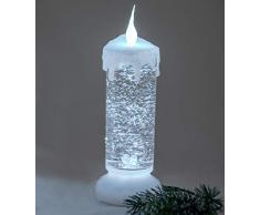 Decorazione candela con luce e acqua, 24 cm, bianco