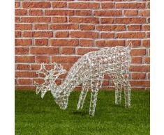 Renna con cristalli che bruca l'erba, h. 50 cm, 200 led bianco freddo, soggetti luminosi, figure di Natale 3D, decorazioni natalizie