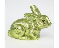Oster coniglietto coniglio Pasqua Oster nido plastica e Glitter seduto, 16,5 cm verde chiaro