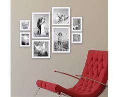 Set da 8 cornici, ogni paio da 10x10, 10x15, 20x20 e 20x30 cm, include accessori, per la progettazione di una parete d'immagini o di foto / cornici per foto