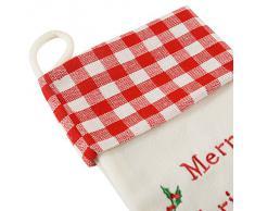 WeRChristmas Calza di Natale con Ricamo Merry Christmas, Rosso, 48 cm