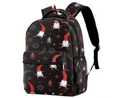 RuppertTextile Zaino per ragazze e ragazzi Bookbag Multiuso Daypack Borsa da viaggio allaperto Cappello rosso carino Santa Claus Babbo Natale con tasca taglia Size