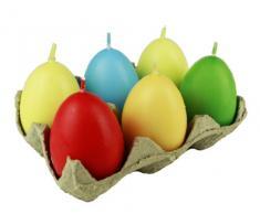 HAAC – 6 candele a forma d' uovo Uova, uova di Pasqua, dimensioni 6 cm colore multicolore