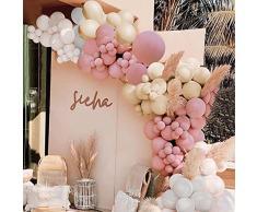 Bellatoi 129Pcs Kit Ghirlanda Palloncino Kit Arco Palloncini Albicocca vintage Bianca per Compleanno Sfondo di Nozze Decorazione per Feste