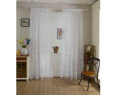 Tenda Tulle Motivo Farfalla Floccato Decorazioni Interni Finestre Letto, Misura 100*200cm - Bianco