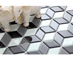 Vetro mosaico piastrelle opaca in bianco e nero con 3D ottica MT0083