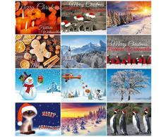 Set di 12 biglietti di Natale in 12 motivi, un mix colorato di biglietti nostalgici, paesaggi invernali e divertenti cartoline di Natale di Edition Colibri – Ecologico, con stampa ecologica.