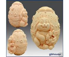 uovo di Pasqua – Coniglietto con decorato 3D sapone/candela/polimero argilla/porcellana fredda stampo in silicone