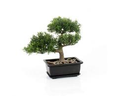 artplants.de Cedro Bonsai Artificiale in vasetto, 20cm - Bonsai in Vaso/Cedro in Vaso