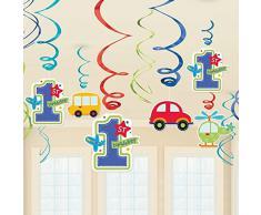 Amscan - Decorazioni da appendere, per festa di compleanno, motivo: macchine e vortici