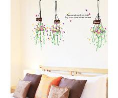 Cesto di fiori foglie verdi Wall Sticker casa decalcomania smontabile soggiorno camera da letto cucina arte foto PVC decorazione murale Sticks finestra porta + 3D Frog auto sticker Gift