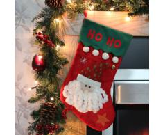 WeRChristmas Calza di Natale con decorazione 3D a forma di Babbo Natale e scritta HO HO HO, 52 cm, bianco Rosso/Bianco/Verde