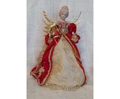 Puntale per albero di Natale a forma di angelo, angelo con arpa rosso e oro, ali di metallo dorato
