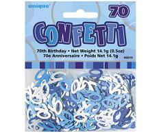 Unique Party 55219 - Blu Brillante Coriandoli in Foil per 70° Compleanno