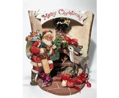 Tegola decorativa con Babbo Natale e renna, caminetto e regali - addobbi Natalizi - Idea Regalo per Natale- Realizzato a Mano - Limited edition