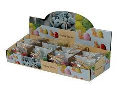 Arti Casa - Candela a Forma di Coniglietto Pasquale, 7 x 4 cm, Cera 35 g, 1 in 4 Varianti, in Pellicola con Fiocco