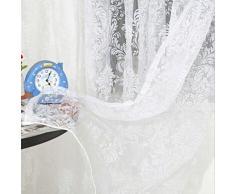 Tenda Tulle Viole Motivo Floreale Floccato Decorazioni Interni Finestra Letto, Misura 200x100cm - Bianco