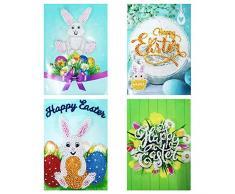 Demiawaking 4 Pezzi Biglietti Auguri Pasqua Fatti a Mano Fai da Te 5D Diamond Painting Cartolina Auguri con Buste Vuote per la Pasqua