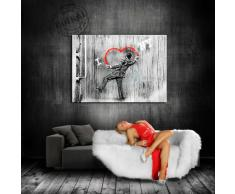"'Graffiti ""Banksy"" stampa su Leinwand - immagine ""Egli..."" 70 x 50 cm K. Poster. 0560 # tela già su telaio. Pop Art dipinto stampe artistiche da parete, immagini, immagini per decorazione - decorazione/immagini da parete Top 200 ""Bansky Streetart"