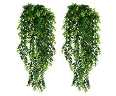 KingYH 2 Pezzi Edera Artificiale 85cm Simulazione Verde di Foglia Piangente Rattan Parete Appeso Vine Verde Pianta per Decorazione Parete Domestica Matrimonio Fioriera Porte