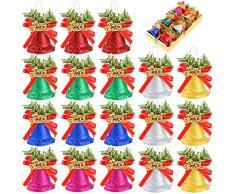 Frgasgds 12 Pezzi Campane di Natale in plastica, Campane Decorative Natalizie Pendente campanella Natalizia per Decorazioni per LAlbero di Natale Art Craft Supplies (2 Taglie, 6 Colori)