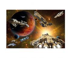 Astronave nell'universo FOTOMURALE- nave spaziale galassia quadro - XXL decorazione da parete cameretta dei bambini –tappezzeria da parete by GREAT ART (140 x 100 cm)