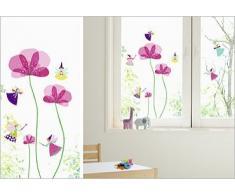Adesivi elettrostatici, senza colla, per finestre, vetri e specchi, visibili sui 2 lati, motivo: fiori e fatine